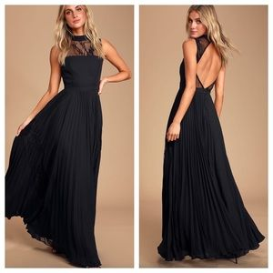 Lulu's Ashleigh Black Pleated Maxi Dress Open Back